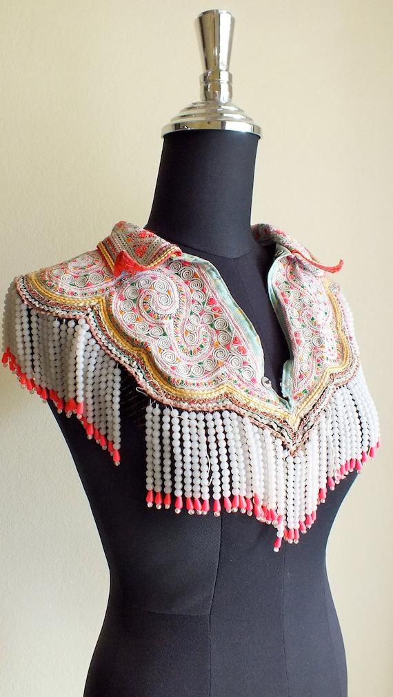 vintage hmong beaded collar handmade fabric ethnic clothing