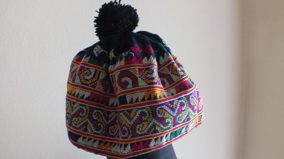 Vintage ethnic hat,  Handmade cross stitch Fabric, Handmade tapestry and textiles, hill tribal fabrics and clothing