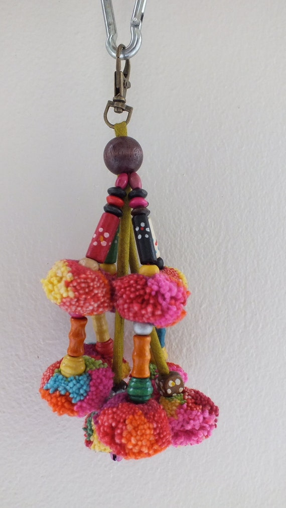 1 Thai Hill Tribe Vintage Pompoms-charms-handmade,pompoms wind charms,tags