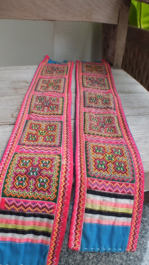 2 Handmade Fabric, hand stitched  tapestry textiles, hill tribal fabrics-from thailand