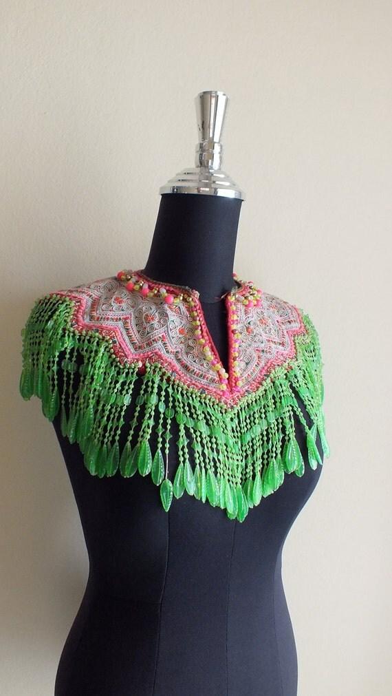 Vintage Hmong shirt  collar Handmade Fabric, handmade tapestry and textiles, hill tribal fabrics