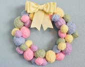Easter or Spring Wreath, yarn ball wreath, eggs in Easter colors, 14 inches, MADE TO ORDER