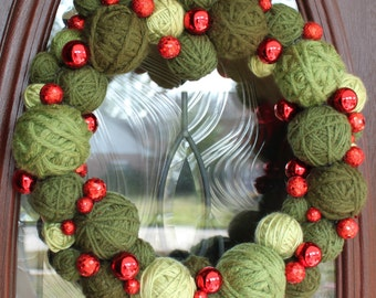 "Christmas Wreath, Christmas Yarn Ball Wreath 14"" in greens, MADE TO ORDER"