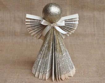 "Angel Decoration, Folded Book Angel in Gold 11"", Christmas decorations, Christmas mantle, Angel Christmas Decor, MADE TO ORDER"