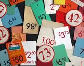 Price Tags Lot Colorful Silkscreened Paper Ephemera Vintage