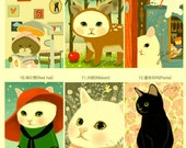 Postcard set of 18 - Kitty's changing images