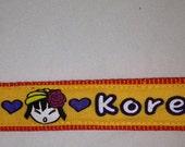 "Korean Drama Queen Printed Key FOB 6"" Wristlet w/I Love K-Dramas Charm-Yellow & Orange Strap-Made in Hawaii"