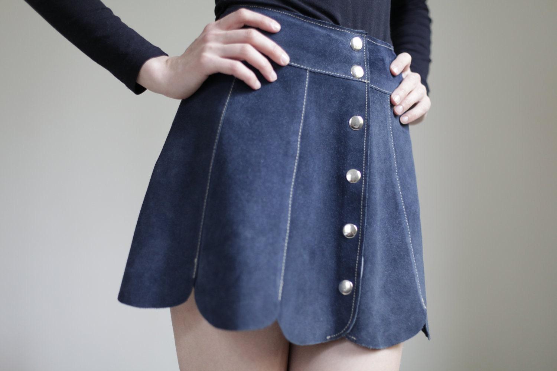 suede mini skirt dark blue