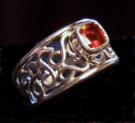 Sterling Silver Ring Hessonite Garnet