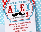 DIY PRINTABLE Invitation Card - Little Man Mustache Birthday Party Invitation - PS829CA1a1