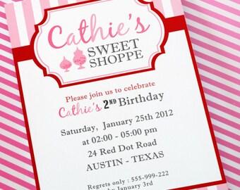 DIY PRINTABLE Invitation Card - Sweet Shoppe Birthday Party Invitation - PS824CA1a1