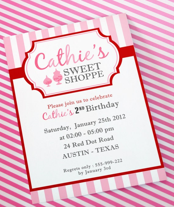 DIY PRINTABLE Invitation Card Sweet Shoppe Birthday Party – Greeting Card Invitation