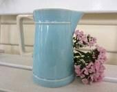 Sweet Vintage Teal Turquoise Light Blue Ceramic Milk Jug Vase