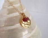 Gold medal/coin and GENUINE ruby necklace - 14k and 24k GOLD FILLED
