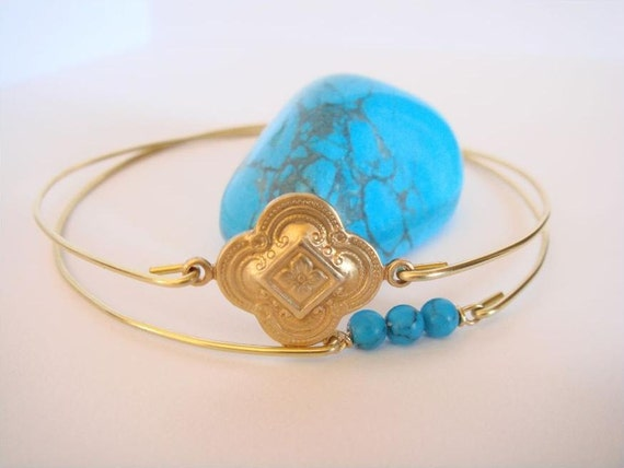 Gold and turquoise bangles - Turkish style