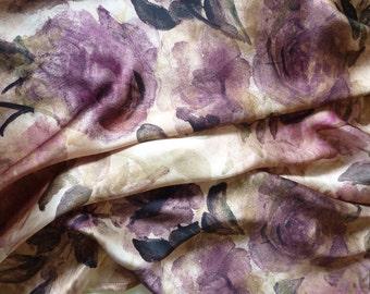 Purple Silk Square Scarf Shawl. Floral Print. Hand Painted Roses. Watercolour. Silk Satin scarf. Luxury Ladies Gift. Wrap Shawl. Birthday