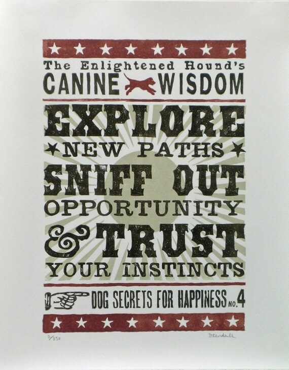 Dog Inspired Typographic Print No.4 Explore New Paths