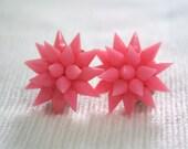 Vintage Neon Pink spade Flower earring Clip on