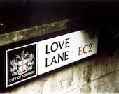 London print travel poster valentines day decor street art love Lane in London England Europe romantic photograph 4x6 5x7 6x8 8x10 10x15