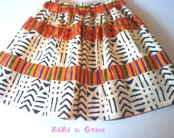 Kente and  mud cloth Skirt for WOMEN