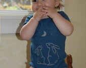 organic baby onesie with bunnies and moon