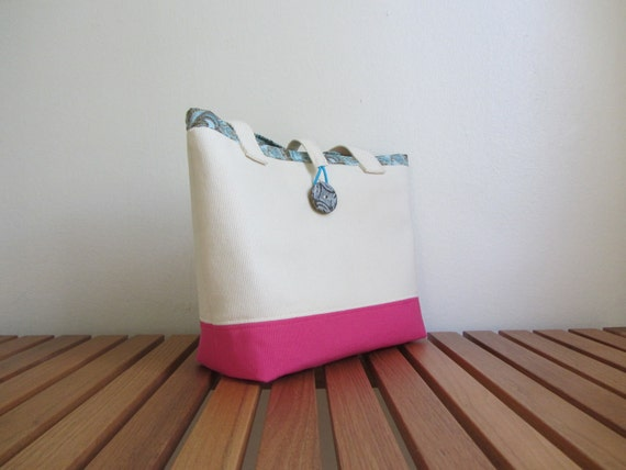 SALE: Tote Purse Handbag - Organic Canvas Cotton Tote Purse Pink & Natural, Lined with Vintage Button (PTS-001)