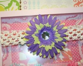 Lime Green and Purple Hair Clip with Jewel