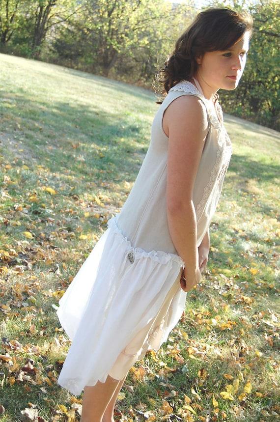 SALEUpcycled ClothingCashmere Sweater Tunic Voile Shabby Prairie Gypsy Fairy Boho Vintage Eco Altered Ecru Tattered Crochet Prairie