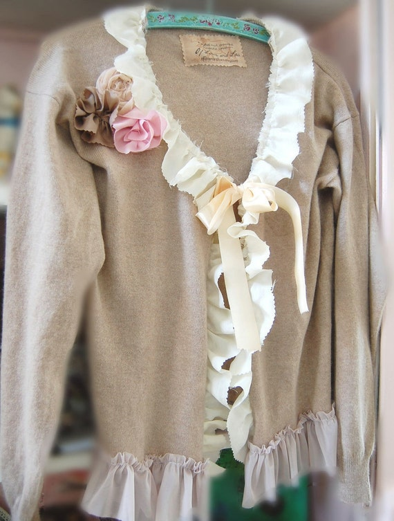 Luxurious Cashmere Sweater Altered Couture Prairie Girl Wedding Shabby Chic Urban Farmgirl Bohemian Cabbage Roses Silk  Ecofriendly Upcycled