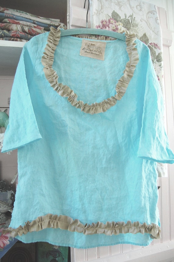 Upcycled Clothing Linen Tunic Top Upcycled Aqua Blue Women's Med Lrg Shabby Altered Romantic Prairie Woodand Mori Girl
