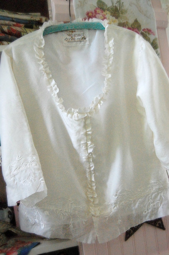 Silk Tunic Tattered Edges Upcycled Altered Raw Hems Silk Organza Bridal Wear Fancy Blouse Embroidery Shabby Chic  Garden or Beach Wedding