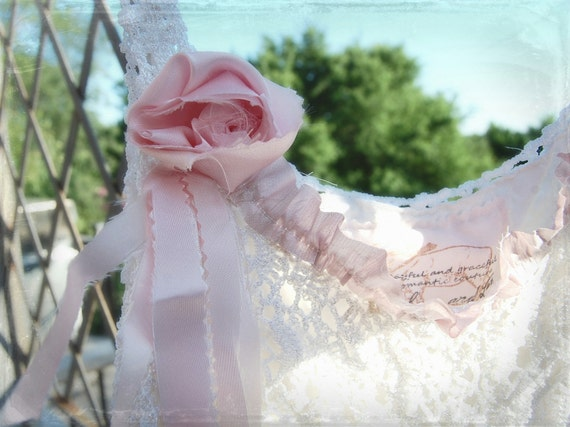SALE White Crochet Eco Rustic Shabby Girl Tattered Bride Pink Roses Flouncy Prairie Tank Vintage Lace Altered Cami Top Boho
