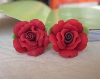 8 pcs18 mm Polymer Clay Flower Beads FIMO Pendant Charm craft jewelry Necklaces Earrings Bracelet Accessories- Red(f1012)