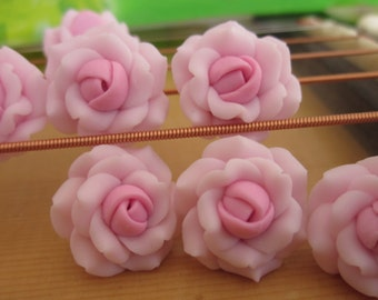 8 pcs 16 mm Polymer Clay Flower Beads FIMO Pendant Charm craft jewelry Necklaces Earrings Bracelet Accessories - pink(f1302)