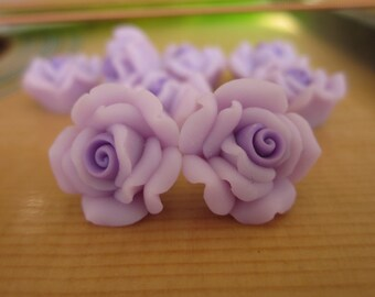 8 pcs 14mm Polymer Clay Flower Beads FIMO Pendant Charm craft jewelry Necklaces Earrings Bracelet Accessories by sunshinepark99-purple