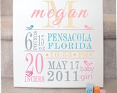 Custom Birth Canvas -bird theme-pink and blues - personalized canvas - New baby gift - Bird Custom Canvas