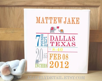 Personalized baby canvas 10x10 ELEPHANT Custom Birth Canvas - PRIMARY COLORS