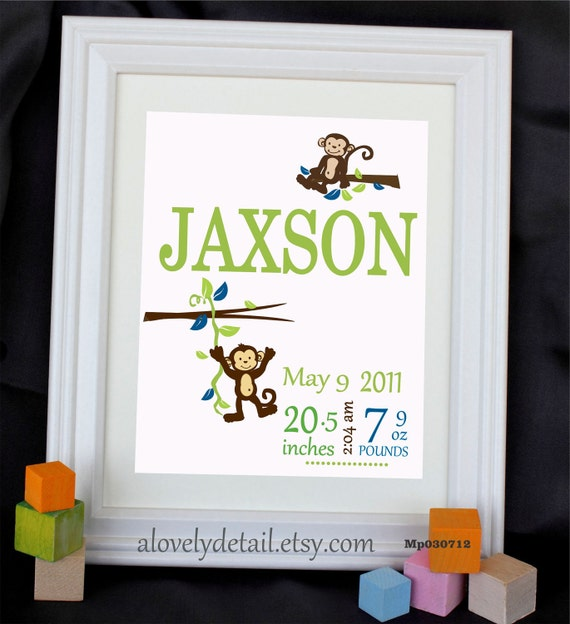Holiday Sale Custom Art Print Baby print MONKEY IN A BRANCH  Personalized With Your Name and Colors 8 x 10