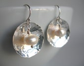 Store Closing - Hammered Sterling Silver disc and Pearl Earrings