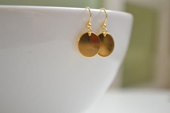 Sun - Tiny Delicate Gold Disc Earrings