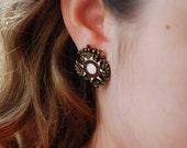 Maltese Cross Earrings Vintage Military Style Enamel Crest Screwback Earrings