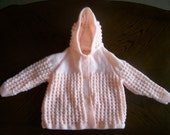 Hand Knitted Peach Baby Jacket With Hood