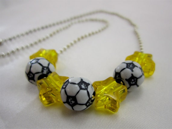 Girls Soccer Star Necklace of Yellow Star Beads and Soccer Balls-Little Girls, Girls, and Teens Jewelry