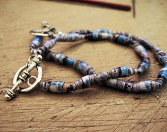 Beaded Bracelet Made from Recycled Paper
