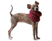 XS Woven Dog Cowl: Doggie Neck Warmer / Sweater - available in over 30 colors, shown in Berry Wine
