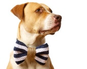 The Nautical Dog Bow Tie in Navy and White Stripe with Jute Rope Detail (Dog Clothing)