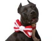 The Striped Doggie Bow Tie in Large: Choose from over 30 colors (shown in Red and White for Valentine's Day)