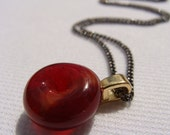 Unique Handmade Artisan Jewelry, Petite Handmade Red Lampwork Pendant, jewelry jewellery, affordable Christmas holiday gift for women