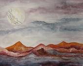 "Original Gouache Painting - ""Lightning Moon"""