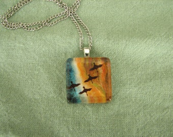 "Glass Tile Pendant - Print of Gouache Painting ""And From Above You"""